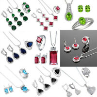 925 Sterling Silver Set Double Color Gem Necklace Pendant Rings Earrings Jewelry