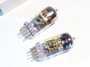 2x TESLA E88CC (=6922 CCa), Gold Grids, Gold Pins, 1966/1968 Codes, NMINT/100%+!