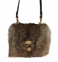 NEW $2900 DOLCE & GABBANA Bag Purse Brown Fur Ayers Snakeskin Messenger Evening