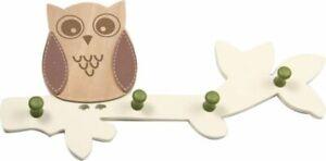 OWL WOODEN COAT HOOK DOOR HAT WALL HANGER nursery woodlands 4 hooks brown green