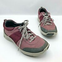Clarks Wave Walk Waterproof Burgandy Suede Lace Up Hiking Shoe Size 8W Pre Owned
