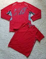 Lot of 2 Boy's Nike Dri-fit Athletic Training Basketball Tops Shirts Size L Red