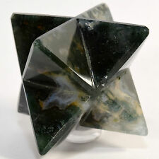 """2.6"""" Multicolor 8 Point Moss Agate Merkaba Star Natural Chalcedony Mineral India"""