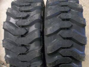 2) 25/8.50x14 Titan, ROBERT CAT 6Ply Loader Skid Steer Rim Guard Tires