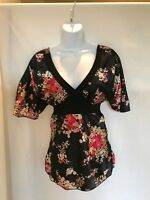 Womens Black Floral V-Neck Tie Waist Dress Up Top - Size S and XS