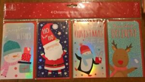Pack of 4 Childrens Christmas Money Wallets with envelopes