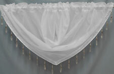 Crystal Beaded Voile Swags - All Colours - Pelmet Valance - Net Curtains Swag