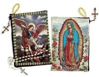 WOW Archangel Michael Icon Our Lady of Guadalupe Icon Rosary Tapestry Pouch Case