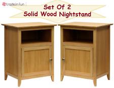 Nightstand End Table Drawer Natural Solid Wood SET OF 2 Bedroom Bedside Knob NEW