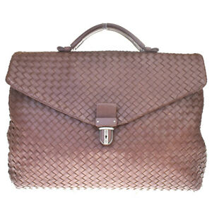 Auth BOTTEGA VENETA Briefcase Intrecciato Hand Bag Leather Brown Italy 76MC921