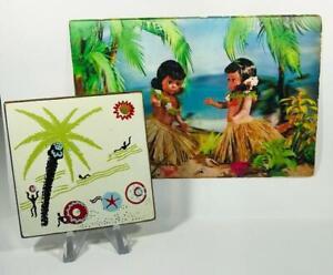 "RARE~ Vintage ""HENRIETTE- BEACH LIFE"" Powder Compact + Matching HULA Postcard"