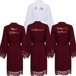 Cotton Kimono Robes with Lace Women Wedding Bridal Robe Bathrobe Sleepwear White