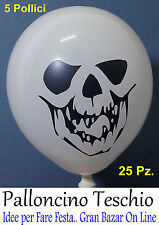 HALLOWEEN PALLONCINI BIANCO TESCHIO NERO 25 Pz 5' HORROR FESTA PARTY PIRATI
