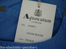 AQUASCUTUM Mid Blue CHESTER Jean Style Trousers sz 36 BNWT Slimfit ITALIAN Made
