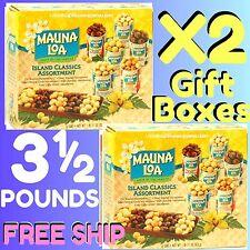 MAUNA LOA ISLAND ASSORTMENT MACADAMIA NUTS  X2 / 6-PACK GIFT BOXES = 3½ LBS
