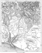 España. bosquejo minas de Huelva, mapa c1885 tabla de plan de Vintage Antiguo Viejo