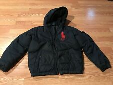 Polo Ralph Lauren hooded down feather jacket coat big pony navy blue red M 10 12