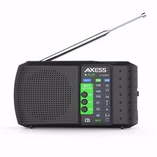 NEW--Axess PR3206 Black Portable/Rechargeable AM/FM Radio Receiver USB/TF Slot