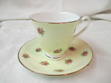 Vintage England Crownford Fine Bone China Cup & Saucer yellow with pink roses