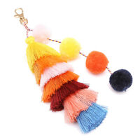 EB_ CO_ Bohemia Women Colorful Tassel Keychain Key Ring Backpack Hanging Ornamen