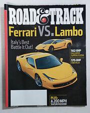 2010 DECEMBER ROAD & TRACK CAR MAGAZINE FERRARI ITALIA 458 LAMBORGINI GALLARDO