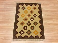 Antique Look Hand-Woven Indian Tribal Kilim Brown 100% Wool Rug 70x101cm 50% OFF