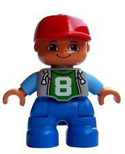 Lego Duplo Boy Red Baseball Cap and the Number 8 in the Shirt New Child