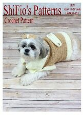 CROCHET PATTERN for DOG JACKET COAT BOW  S, M, L, XL #179 By ShiFio Patterns