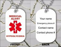 HYPOGLYCEMIA MEDICAL ALERT PERSONALIZED DOG TAG PENDANT NECKLACE - sfd1Z