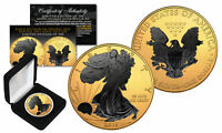 2016 1 oz .999 Silver American Eagle US Coin 24K Gold Gilded w/ Black Ruthenium