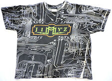 Vtg Jimmy Z Skate Surf Punk All Over Print Circuit Board Crop Half Belly T-shirt