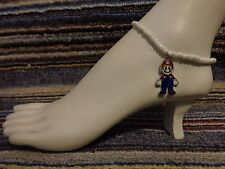 bracelet beads anklet stretchy beach Mario bros brothers enamel charm ankle