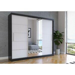 Schwebetürenschrank Kalba 250 cm Groß Kleiderschrank Spiegel Schiebetüren Modern