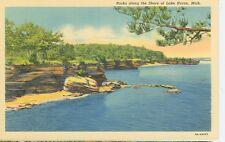 LAKE HURON,MICHIGAN-ROCKS ALONG THE SHORE-LINEN--(MICH-LMISC)