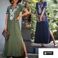Caftano Copricostume Vestito Lungo Donna Mare Woman Boho Chic Dress COV0111
