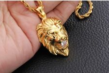 Elvis Presley Round Lion Head Crystal TCB Gold Plated Pendant W/ Chain Necklace
