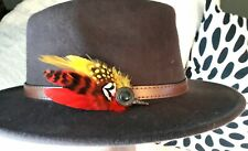 Large Handmade Yellow red feather pin hatpin lapel pin races horse show