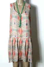 MANGO Kleid Gr. M beige-grün-lachs kurz ärmellos Muster Chiffon Hüft Kleid