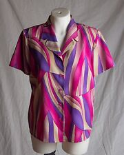 Women's Modern Essentials Multi-Color Short Sleeve Blouse Size 14