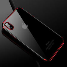 For iPhone X 8 7 6S Plus Case Electroplate Silicone Ultra Slim Clear Soft Cover