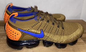 Nike Air VaporMax Flyknit 2 Men's Golden Beige Racer Blue 942842-203 Men's Sz 12