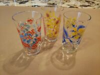 3 VINTAGE DRINKING GLASSES Various Flower Pattern 4.5 inch JUICE GLASS