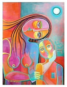 Expressionism Cubist Painting Marlina Vera Modern Art Mother and Child Woman NR