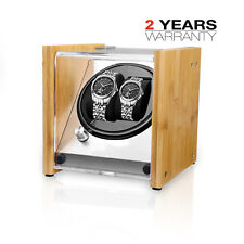 Natural Feel Bamboo Crystal Automatic Rotation Double Watch Winder Display Case