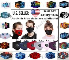 Cotton Face Mask Adult & Kids Face Mask Adjustable Reusable Washable + Filters