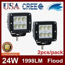 Super Bright 24W 3in CREE Pod Cube Work Driving Offroad White Light 6000K Flood