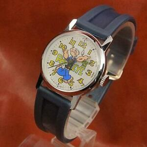 Bradley Popeye Character Wrist Watch Hand-winding Hong Kong 1970s Antique #30394
