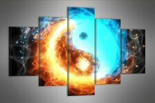 "Gran Abstracto Lona Azul De Pared Imagen Split 5 Paneles Flash Art 40 ""de 28"" 2598"