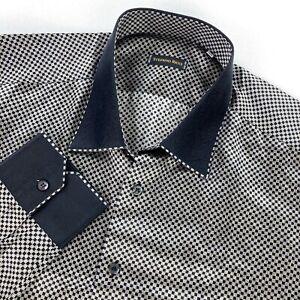 STEFANO RICCI Men's 100% Silk Dress Shirt Black/White Dice Italy • XXL