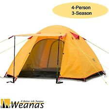 Weanas 4 Person Waterproof Orange Ultralight Dome Portable Camping Tent Shelter